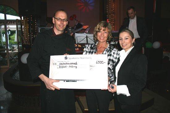 Roland Besinger übergibt Spendenscheck in Höhe von 6.000 Euro an Emanuel Wöhrl Stiftung