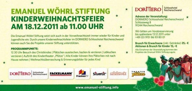 Kinderweihnachtsfeier zugunsten der Emanuel Wöhrl Stiftung im DORMERO Schlosshotel Reichenschwand